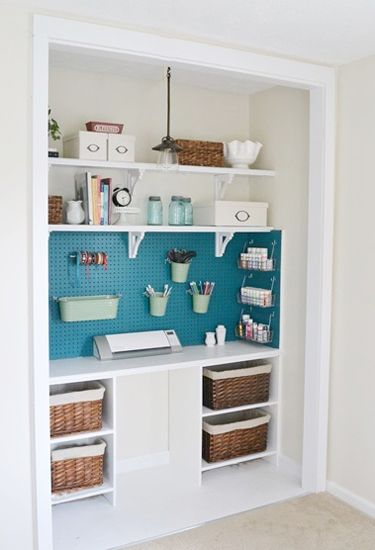 See how one hometalk blogger transformed an old closet into a creative space for crafting.