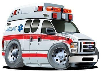 camion bande dessinée: ambulance bande dessinée van en un clic repeindre Illustration