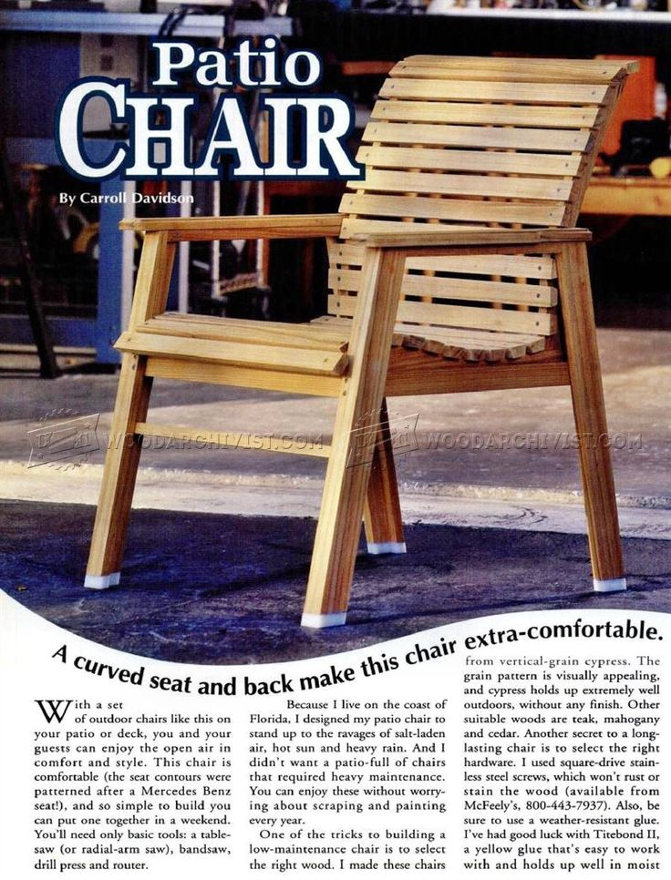 #701 Patio Chair Plans - Outdoor Furniture Plans and Projects