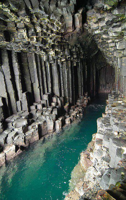Fingal's Cave is a sea cave on the uninhabited island of Staffa, in the Inner Hebrides of Scotland. It is formed entirely from hexagonally jointed basalt columns.  ~Sun GazingScotland,  Dyke,  Dike, Fingal'S Caves, Nature, Beautiful, Inner Hebrides, Travel, Places