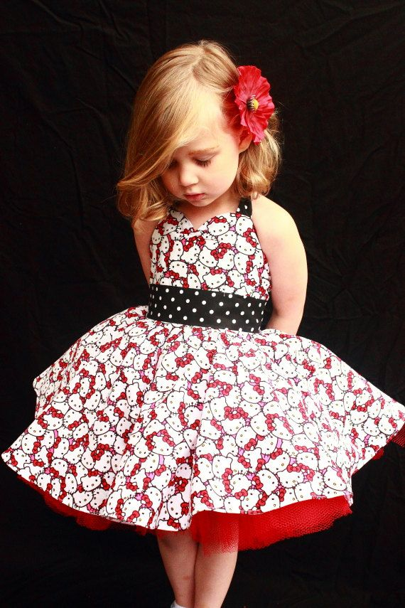 Hey, I found this really awesome Etsy listing at https://www.etsy.com/listing/150278706/rockabilly-hello-kitty-dress