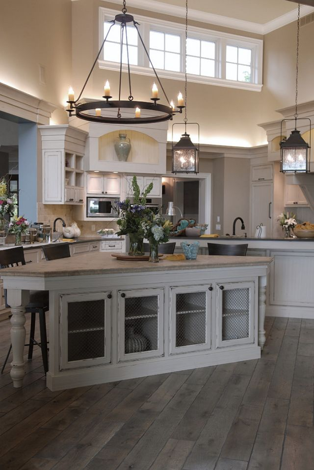 Rustic Kitchen With Solid Hardwood Flooring. Love The Triangle Island.