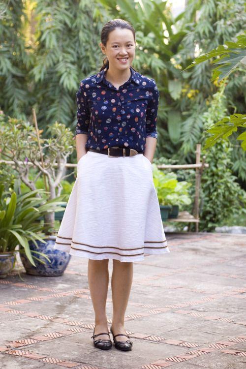 hot air balloon shirt white skirt black heels by 14 shades of grey