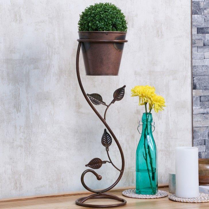 Austin Planter With Stand antique copper finish #planters #plant #garden #flowers #shazliving #pinit #pinterest #leaves #gardening Shop at: https://www.shazliving.com/