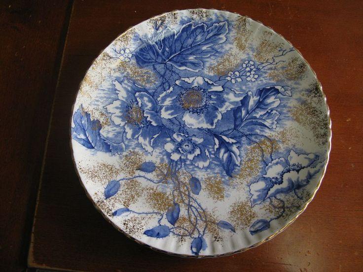 Antique Flow Blue Dunn Bennett & Co Burslem Florence China Plate
