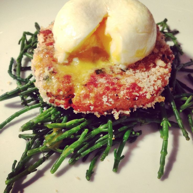 Fish Cakes with Poached Egg and Samphire