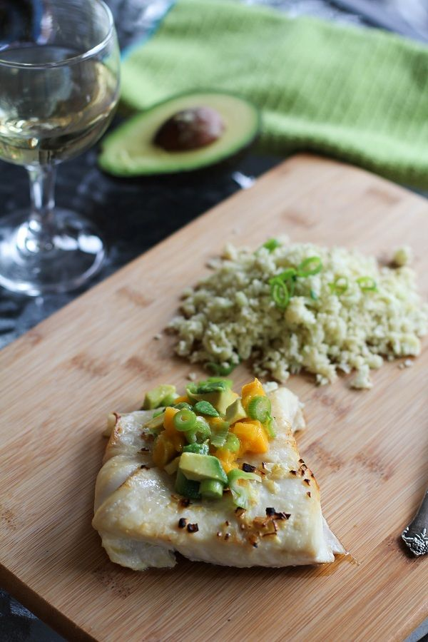 Broiled Halibut with Mango Avocado Relish and Cauliflower Rice | www.theroastedroot.net