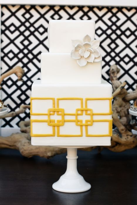 So many things to like about this cake: bright yellow, geometric pattern, white succulent