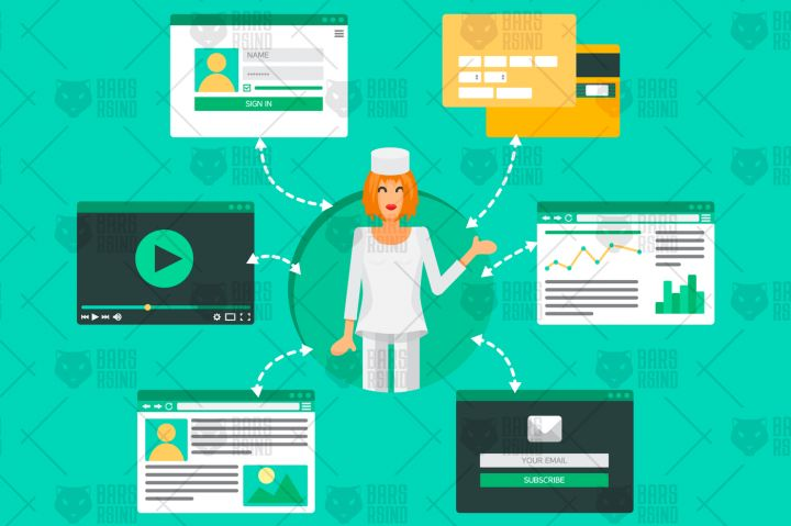 Web Life of Doctor from video, blog, social networks, online shopping and email. Graphic user interface and web pages forms and elements. Vector