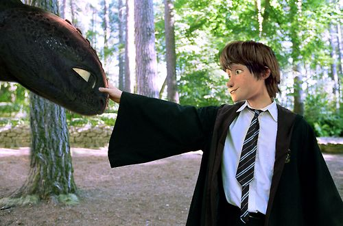 Hiccup and Toothless! only...he's a Ravenclaw! THIS IS SO CUTE SOMEONE PLS MAKE ME MORE OF THESE!!!