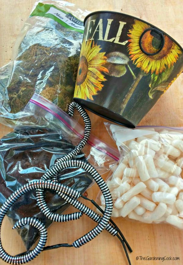 Supplies for scary snake basket.