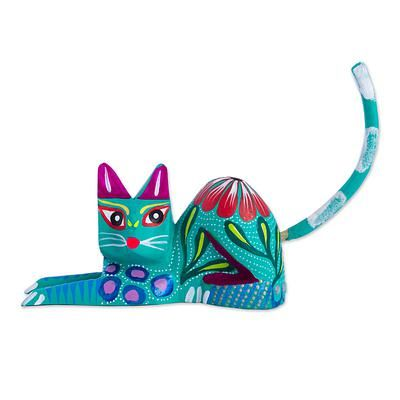 Wood sculpture, 'Excited Cat in Teal' - Copal Wood and Maguey Cat Sculpture in Teal from Mexico