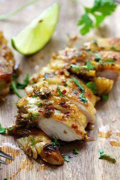 poulet mariné à la coriandre au citron