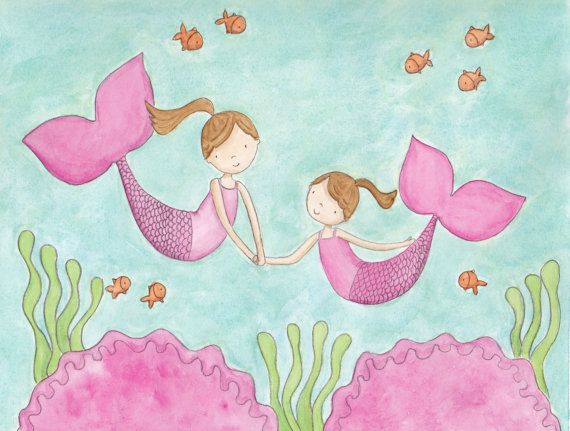Mermaid Sisters Brunettes8X10 Print by puddlepals on Etsy, $15.00
