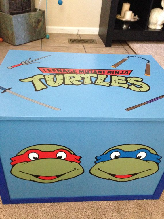 ninja turtle toy box hand painted hand made all by MommyAndMeVegas