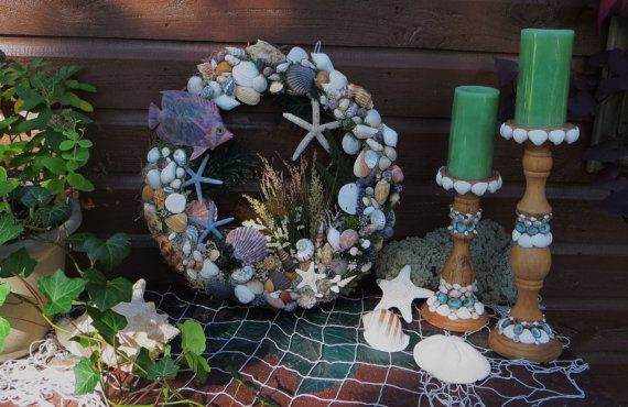 Sea shell beach wreath with blue tropical by CarmelasCoastalCraft, $169.00