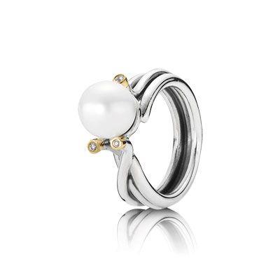 Prachtige ring, zilver met 14 kt goud, diamant 0.024 ct w/vs, witte parel