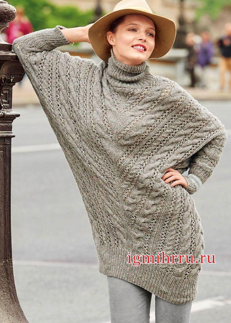 Удлиненный узорчатый свитер покроя «летучая мышь». Вязание спицами