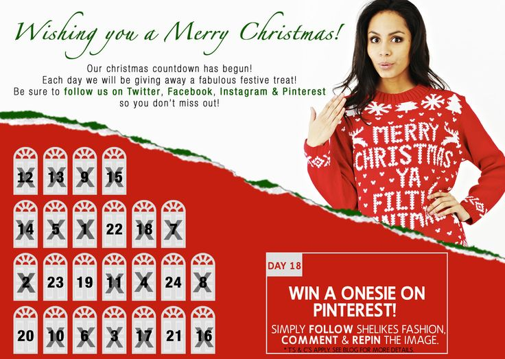 Time to reveal what's behind door 18 & today we're giving away a Onesie! All you gotta do is FOLLOW Shelikes Fashion, REPIN or COMMENT on the image.   Good Luck ladies :-)  T's & C's apply. Please see Shelikes blog. #comp #freebie #competition #win #xmas #christmas
