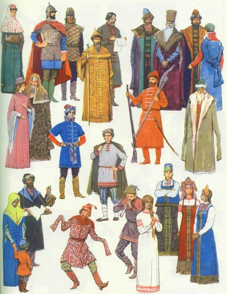 Various types of Russian traditional costumes #illustrations