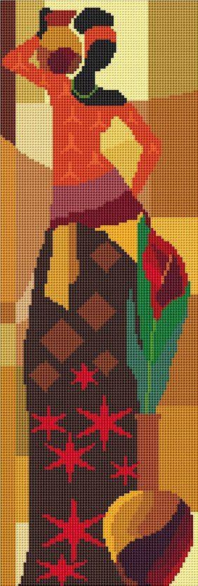 Estoy haciendo un conjunto de tres cuadros de punto de cruz. Quería que fuesen de temática africana, pero los que me gustaban no tenían patrones. Después de mucho buscar encontré unas chicas africanas que me gustaron bastante. La parte mala es que no encontré los patrones de ninguna, pero la parte buena es que se podían sacar de la foto del cuadro.Éstas son las imágenes originales: ...