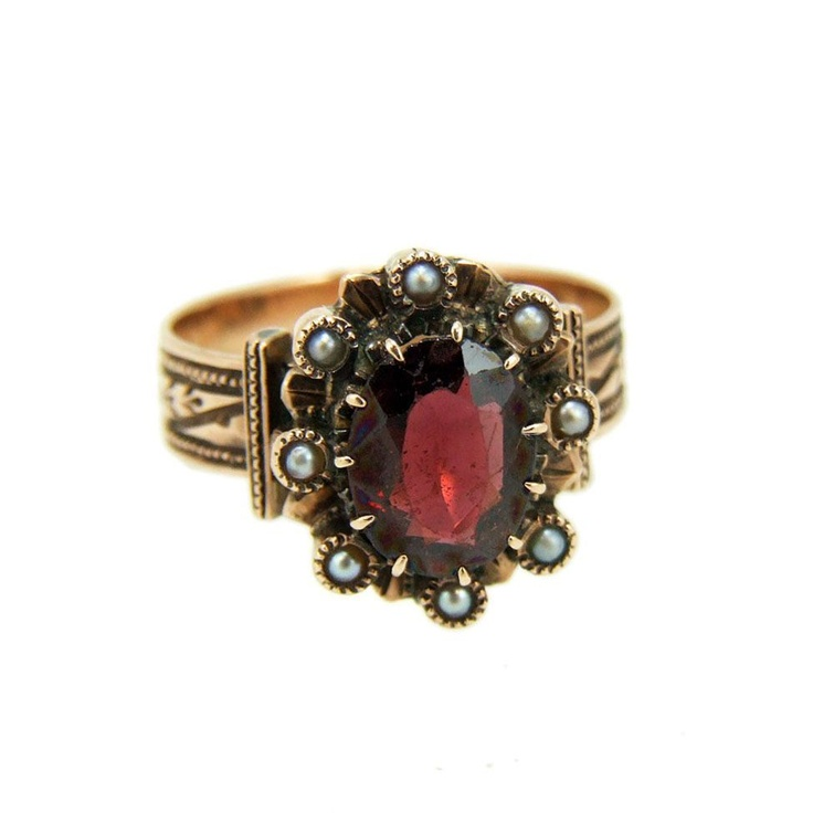 Antique Pearl Rings | Antique Victorian 10k Rose Gold Garnet & Pearl Ring from vintagegems ...
