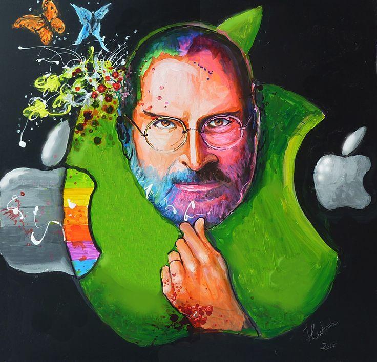 "Mr. Apple, Steve Jobs. 24"" X 24"", FCoulombe art."