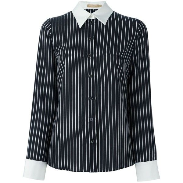 Michael Kors striped shirt ($536) ❤ liked on Polyvore featuring tops, black, print shirts, shirt top, silk top, patterned tops and stripe shirt
