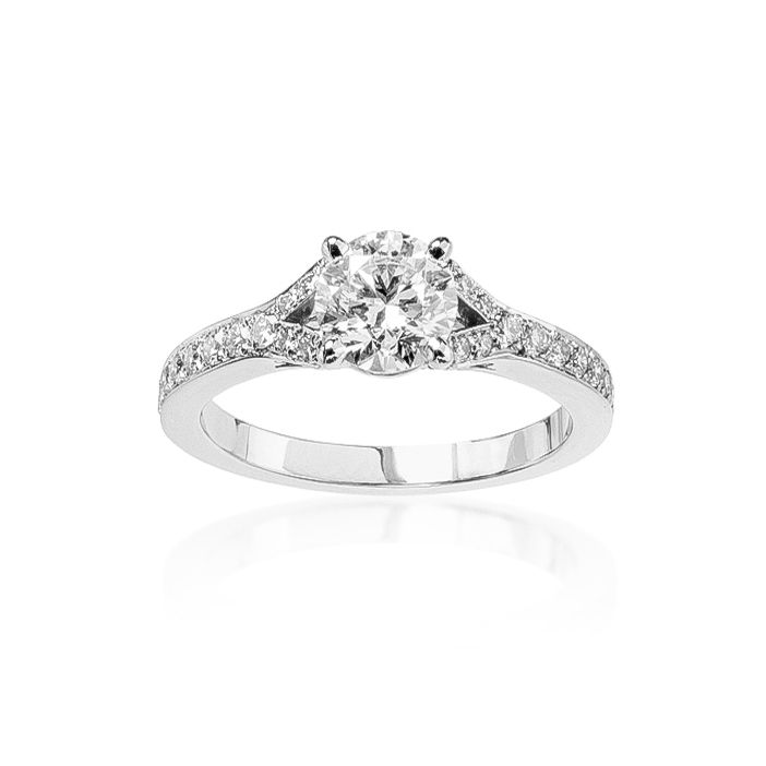 bague de fiançailles Flora diamant sur or blanc