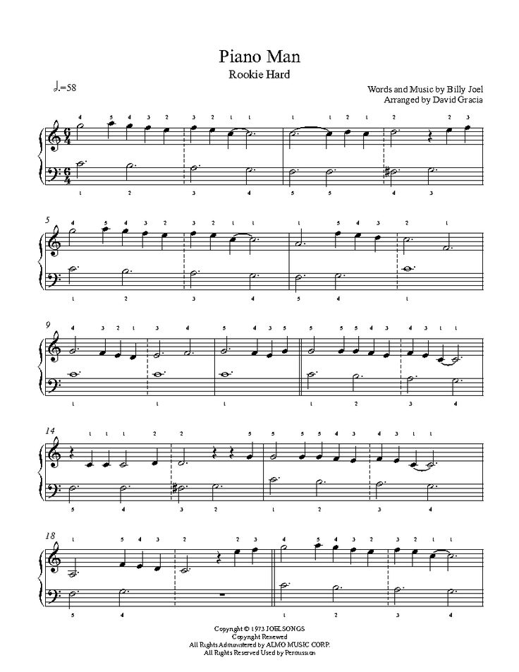 Piano Man by Billy Joel Piano Sheet Music | Rookie Level