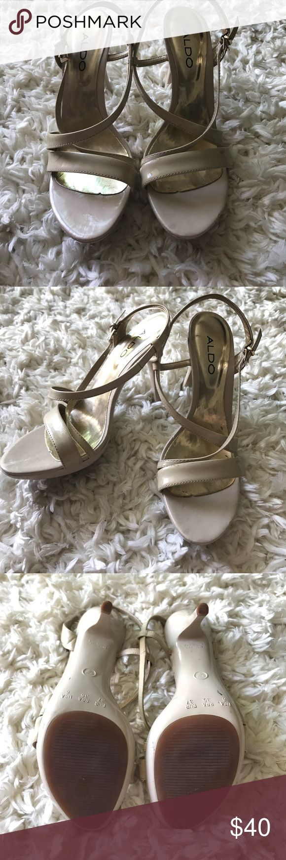 ALDO NUDE STRAPPY HEELS, great for dresses/jeans ALDO NUDE STRAPPY HEELS, great for dresses/jeans, size 6 Aldo Shoes Heels