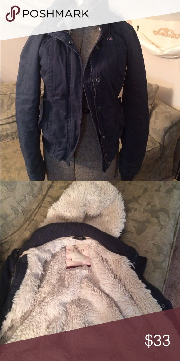 Thick, fuzzy hollister coat Comes with hood. Very warm! Could also fit size small. Hollister Jackets & Coats Puffers