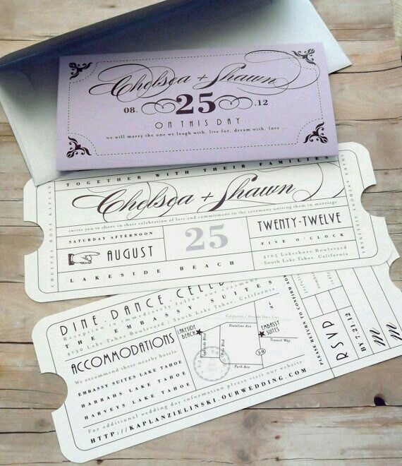 Ticket invitation for carnival style wedding.