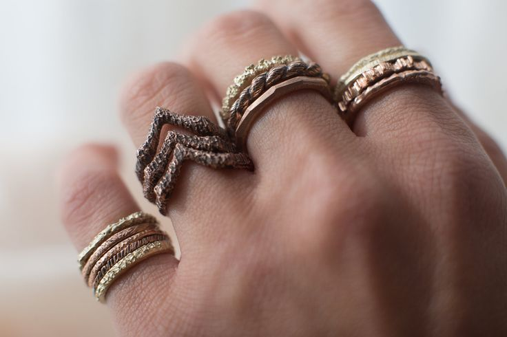 HEIR·LOOM, stackable yellow and rose gold ring by Rhodes Wedding Co.