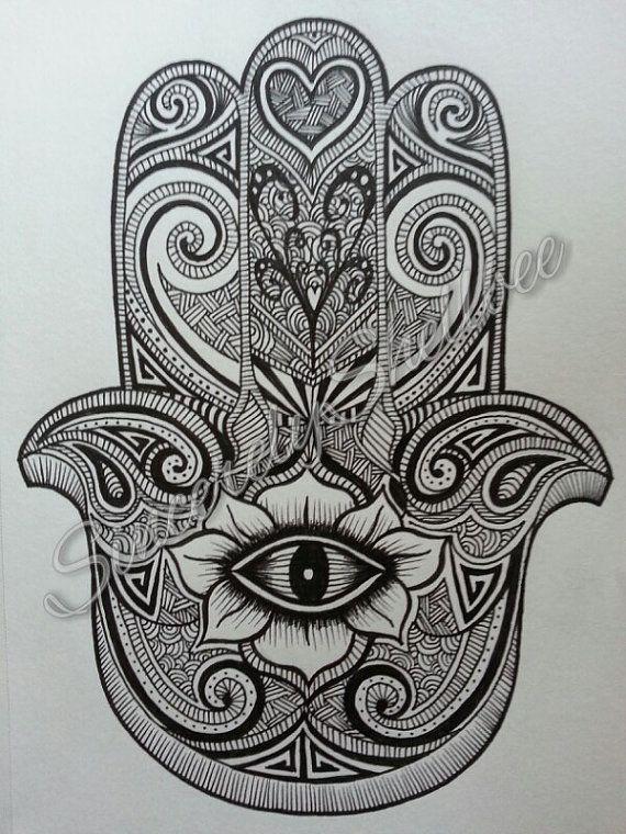 Hamsa Ink Drawing by SincerelyShellbee on Etsy, $10.00