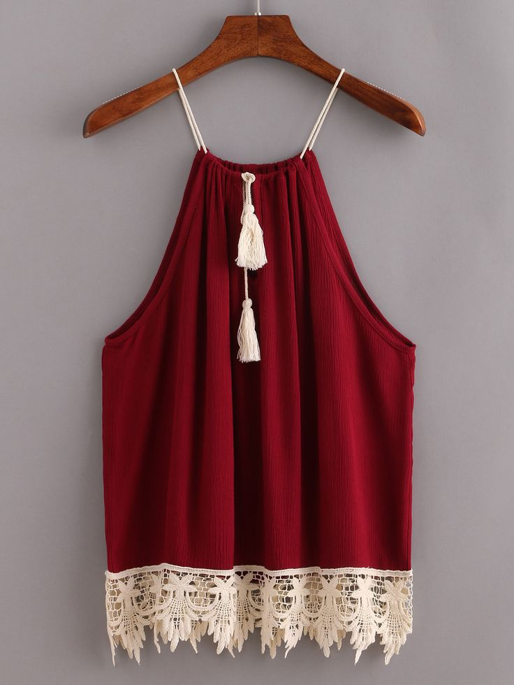 Lace Trimmed Tasselled Drawstring Neck Top - Burgundy