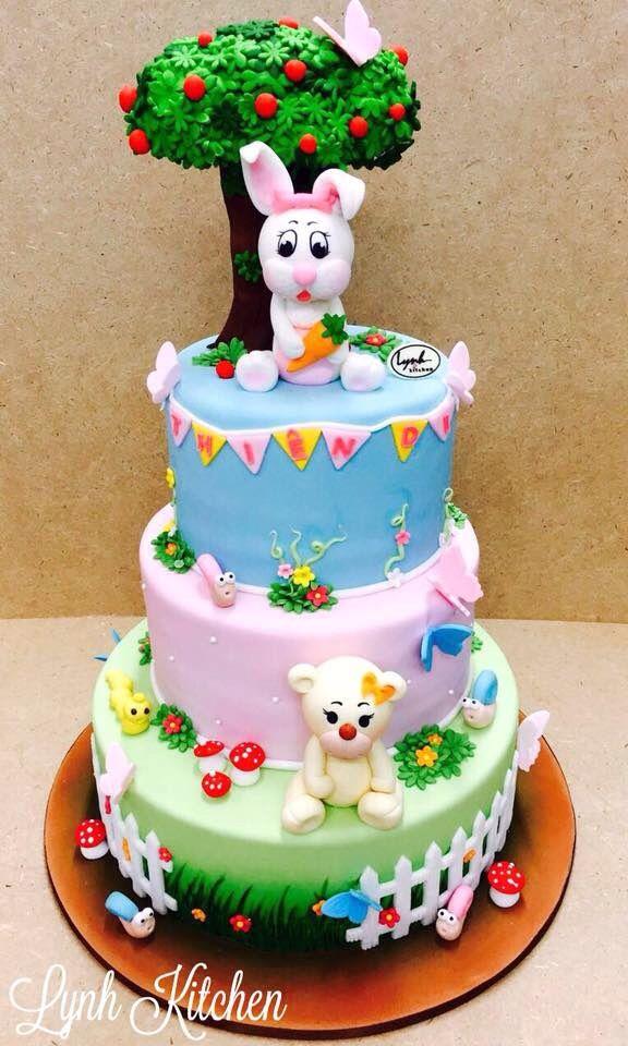 Bunny Teddy Girls Fondant Cake