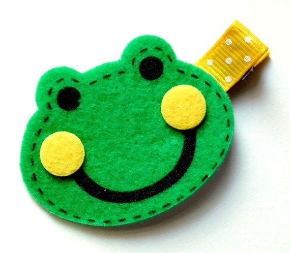 Cute felt frog. (Baby Hair Clip  Felt Hair Clip)  Frog Hair Clip by HappyHairDay, $2.75