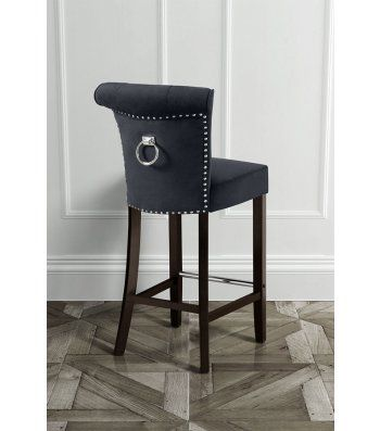 Positano Bar Stool With Back Ring Black Velvet