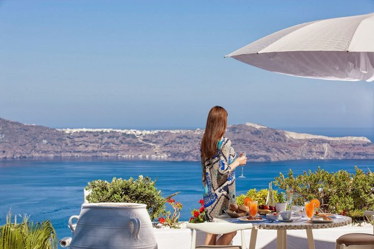The endless Aegean sea� Deep blue flirting with pigments of rugged stone� The breathtaking #Caldera, as in a picture from a famous postcard� #Santorini, #MillHouses