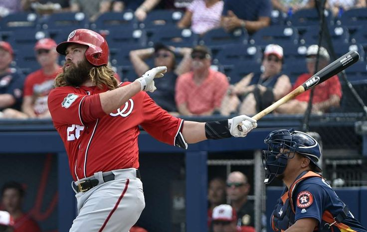 Werth his weight:    Washington Nationals designated hitter Jayson Werth connects for a three‐run home run against the Houston Astros in West Palm Beach,  Fla. on March 2. The game ended in an 8‐8 tie.