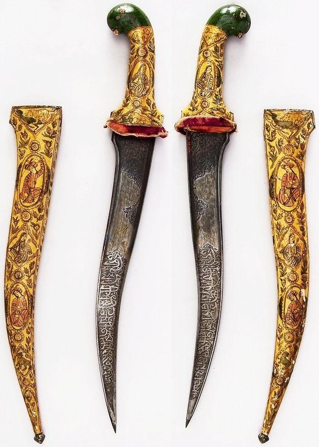 Indian pesh kabz dagger, 19th century, iron, enamel, velvet, H. with sheath 18 3/8 in. (46.7 cm); H. without sheath 18 1/4 in. (46.4 cm); H. of blade 13 in. (33 cm); W. 5/16 in. (0.8 cm); D. 1 3/16 in. (3 cm); Wt. 15.2 oz. (430.9 g); Wt. of sheath 9.9 oz. (280.7 g), Met Museum.