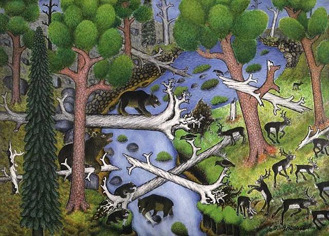 Lapp artist, Andreas Alariesto (1900 - 1989) Karhut kalamiehinä