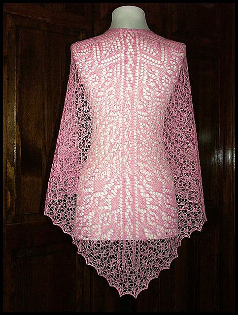 """Annabelle"" knit lace shawl in wool/silk lace weight yarn (pattern by Renee Leverington)"