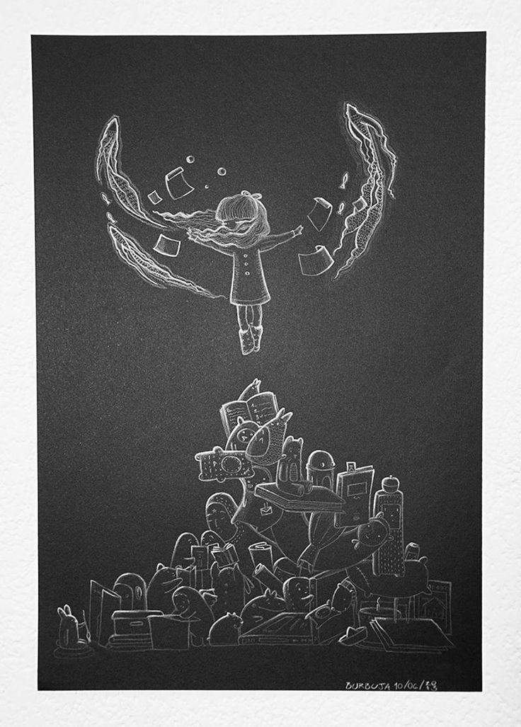Flotar…Más noches dibujadas. Papel negro más lápiz blanco. Tamaño 32 x 47 cm. Pez sonando. Junio 2013.