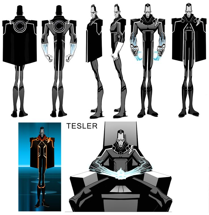 Tesler character model sheet - Tron Uprising | Illustrator: Robert Valley