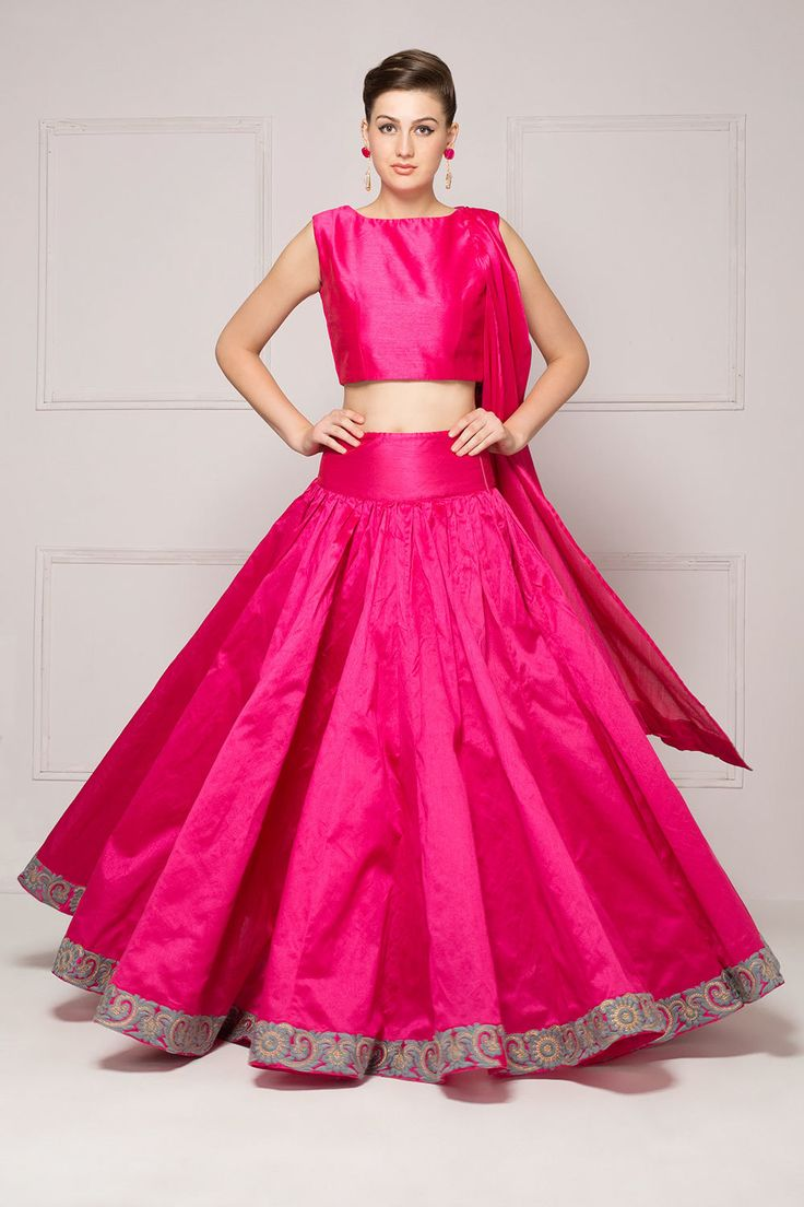 Lehenga set with pre-stitched dupatta top