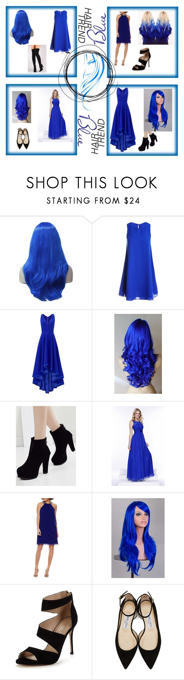 """""""#Blue Hair Trend"""" by jacqueline-w ❤ liked on Polyvore featuring beauty, Sans Souci, Allison Parris, SCARLETT, Carvela, Jimmy Choo and Liliana"""