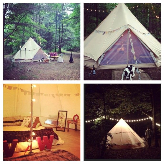 A Stout Tent customer, Nick, rented a Bell tent from us, and surprised his wife for their anniversary. He led her on a blindfolded wine tour through the woods, and then unveiled this divine setup.