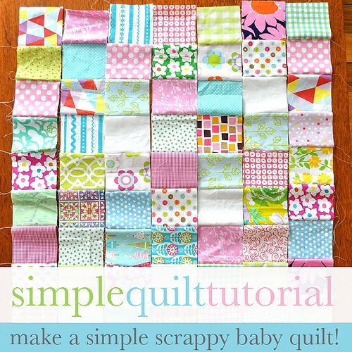 """Simple Baby Quilt Tutorial   Flower Press   """"Cut out 4 inch squares. For this quilt I've used 63 squares, 7 columns x 9 rows."""""""